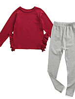 cheap -Girls' Daily Solid Colored Clothing Set, Polyester Spring Long Sleeves Vintage Red