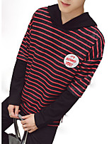cheap -Men's Hoodie - Striped, Pleated