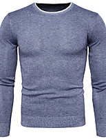 cheap -Men's Simple Long Sleeves Slim Pullover - Solid Colored Round Neck