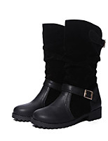 cheap -Women's Shoes Nubuck leather Winter Fall Combat Boots Comfort Boots Chunky Heel Mid-Calf Boots for Casual Black Yellow Red