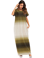 Недорогие -Жен. Крупногабаритные Свободный силуэт Платье - Цветочный принт Контрастных цветов, Классический Макси