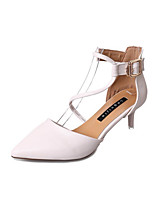 cheap -Women's Shoes PU Spring Summer Ballerina Heels Stiletto Heel Pointed Toe Buckle for Casual Party & Evening White Black Pink
