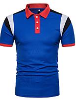 cheap -Men's Active Chinoiserie Cotton Polo - Color Block, Basic Shirt Collar