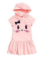 cheap -Girl's Daily Going out Solid Print Jacquard Dress, Cotton Spring Summer Short Sleeves Cute Active Blushing Pink