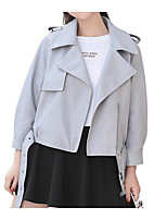 cheap -Women's Casual Leather Jacket-Solid Colored,Print Shirt Collar