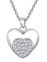 cheap -Women's Heart Cubic Zirconia Rhinestone Silver Plated Choker Necklace Pendant Necklace - Simple Classic Elegant Flower Heart Silver Blue