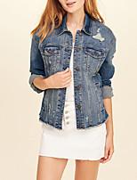 baratos -Mulheres Jaqueta jeans Básico-Sólido Detalhes em Pêlo