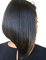 Недорогие -Натуральные волосы Малазийские волосы Кружевной парик Прямой силуэт Лента спереди 180% плотность Черный