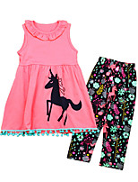 cheap -Girls' Daily Print Clothing Set, Cotton Polyester Summer Sleeveless Cute Active Blushing Pink