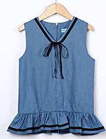 abordables -Robe Fille de Quotidien Sortie Couleur Pleine Imprimé Coton Acrylique Polyester Printemps Eté Sans Manches Rétro Actif Bleu