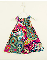 cheap -Girl's Daily Print Dress, Cotton Spring Summer Sleeveless Vintage Sophisticated Green Yellow
