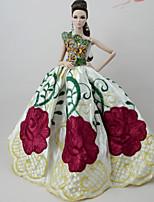 Недорогие -Платья Платье Для Кукла Барби Абрикосовый Тюль Кружево Шелково-шерстяная ткань Платье Для Девичий игрушки куклы