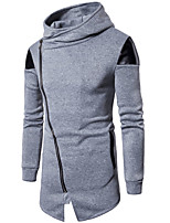 cheap -men's daily sports casual street chic solid hooded stand hoodie long, long sleeves spring fall cotton polyester
