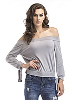cheap -Women's Simple Cotton T-shirt - Solid Colored Off Shoulder