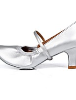 "cheap -Women's Modern Leatherette TPU Heel Practice Buckle Cuban Heel Silver 2"" - 2 3/4"" Customizable"