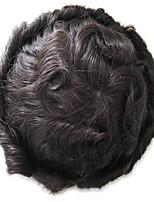 cheap -Men's Human Hair Toupees Full Lace