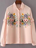 preiswerte -Damen Blumen-Retro Hemd,Hemdkragen Schlank