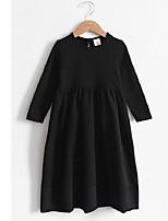 abordables -Robe Fille de Vacances Couleur Pleine Coton Automne Manches Longues simple Actif Noir