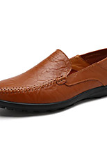 cheap -Men's Shoes Cowhide Spring Fall Comfort Loafers & Slip-Ons for Casual Black Light Brown Dark Brown