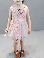 cheap -Girl's Daily Going out Floral Dress, Rayon Summer Sleeveless Cute Blushing Pink