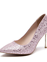 cheap -Women's Shoes Paillette PU Spring Summer Basic Pump Wedding Shoes Stiletto Heel Pointed Toe for Wedding Party & Evening Gold Silver Pink