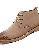Недорогие -Муж. обувь Кожа Зима Весна Удобная обувь Туфли на шнуровке для Повседневные Черный Темно-коричневый Хаки