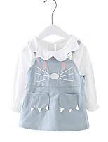 abordables -Robe Fille de Quotidien Couleur Pleine Coton Eté Manches Courtes simple Actif Bleu Kaki