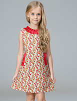 cheap -Girl's Party Going out Floral Dress, Cotton Polyester Summer Sleeveless Cute Active Red