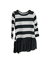 cheap -Girl's Daily Holiday Solid Striped Patchwork Dress, Cotton Polyester Spring Summer Long Sleeves Simple Active Black