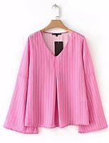 cheap -Women's Basic Blouse - Striped V Neck