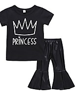 cheap -Girls' Daily Holiday Solid Colored Print Clothing Set, Cotton Spring Summer Short Sleeves Cute Black