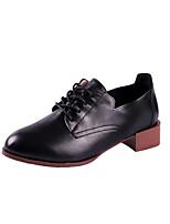 abordables -Femme Chaussures Polyuréthane Printemps Automne Confort Oxfords Talon Bas pour De plein air Noir Amande