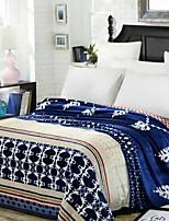 cheap -Coral fleece, Reactive Print Geometric Floral / Botanical Polyester/Polyamide Blankets