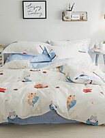 cheap -Duvet Cover Sets Floral 4 Piece Poly/Cotton Reactive Print Poly/Cotton 1pc Duvet Cover 2pcs Shams 1pc Flat Sheet
