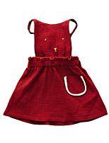baratos -Menina de Vestido Diário Feriado Sólido Outono Algodão Sem Manga Simples Vinho