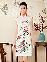 cheap -Women's Slim Sheath Dress - Floral, Embroidered Stand
