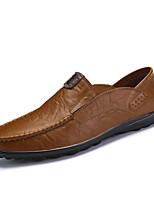 baratos -Homens sapatos Courino Primavera Outono Sapatos formais Mocassins e Slip-Ons para Casamento Escritório e Carreira Preto Castanho Claro