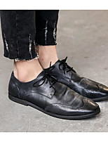 cheap -Men's Shoes Cowhide Nappa Leather Spring Fall Comfort Oxfords for Casual Black