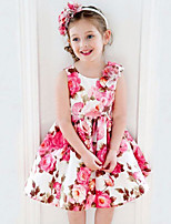 cheap -Girl's Daily Holiday Solid Colored Patchwork Dress, Cotton Polyester Summer Cute Basic Blushing Pink
