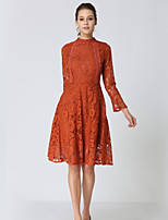 cheap -SHE IN SUN Women's Basic Flare Sleeve A Line Dress - Solid Colored, Lace
