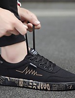 preiswerte -Herrn Schuhe Leinwand Sommer Komfort Sneakers für Normal Gold Schwarz Schwarz/weiss