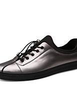 preiswerte -Herrn Schuhe Kunstleder Leder Frühling Sommer Komfort Sneakers für Normal Schwarz Silber