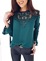 cheap -Women's Flare Sleeve Blouse - Solid, Lace Patchwork