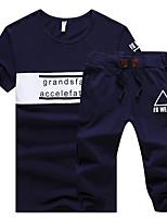 abordables -Hombre Tallas Grandes Deportes Casual Chic de Calle Delgado Manga Corta Activewear Un Color Letra Escote Redondo