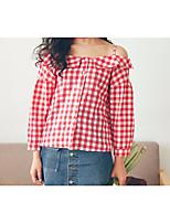 Недорогие -Жен. Рубашка Вырез лодочкой Простой