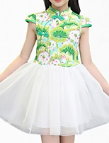 cheap -Girl's Daily Floral Dress, Cotton Polyester Spring Summer Short Sleeves Simple Cute Blue Green