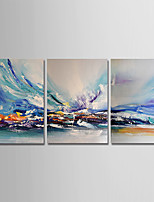 cheap -Hand-Painted Abstract Vertical, Modern Canvas Oil Painting Home Decoration Three Panels