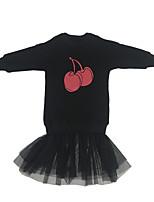 Недорогие -Девичий Платье Повседневные Хлопок Однотонный Осень Длинный рукав Простой Активный Черный Красный