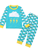 cheap -Unisex Daily Print Clothing Set, Cotton Polyester Spring Fall Long Sleeves Cute Active Blue Blushing Pink