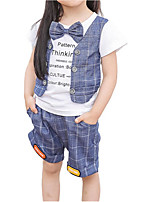 cheap -Unisex Daily Holiday Solid Colored Print Plaid Clothing Set, Cotton Polyester Summer Short Sleeves Active Basic Blue Gray